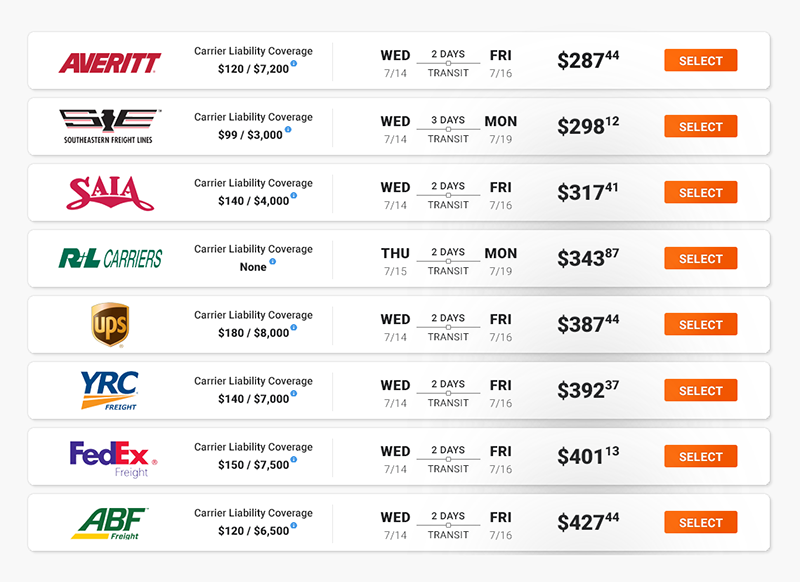 Compare freight rates