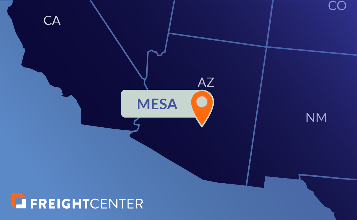 Mesa freight shipping map