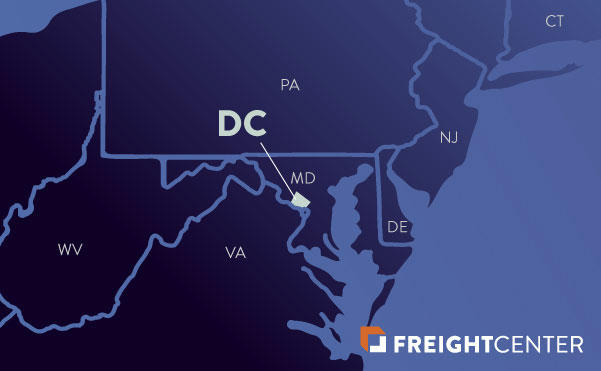 Washington DC freight shipping map
