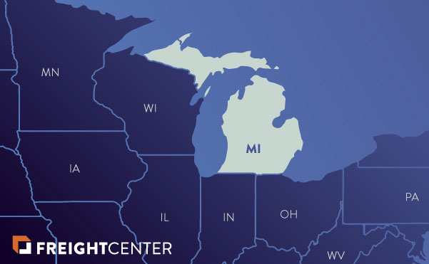 Michigan freight shipping map