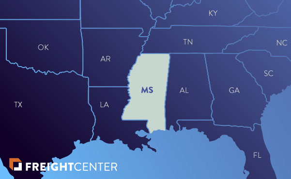 Mississippi freight shipping map