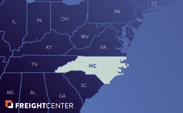 North Carolina freight shipping map